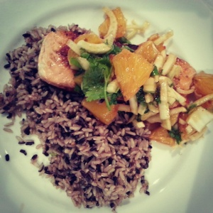 Salmon with Orange and Fennel Salad served on Brown and Black rice